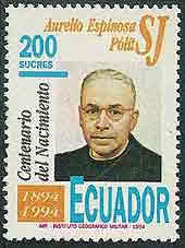 A 1994 Ecuadorian stamp commemorating the centennial of Aurelio Espinosa Polit's birth