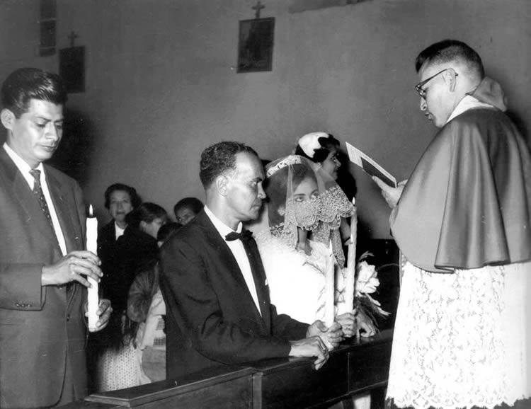 Nelson Estupiñán Bass marrying Luz Argentina Chiriboga, Quito, Ecuador, 1962.