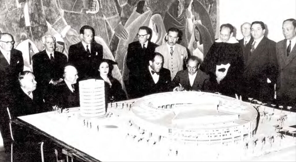 Model of the Mirror Building and National Library at the House of Ecuadorian Culture, 1953.