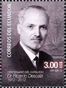 Ricardo Descalzi in a 2012 Ecuadorian stamp (to commemorate 100 years since his birth.